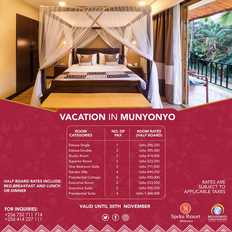 Speke Resort Munyonyo -Vacation in Munyonyo Accomodation 2020