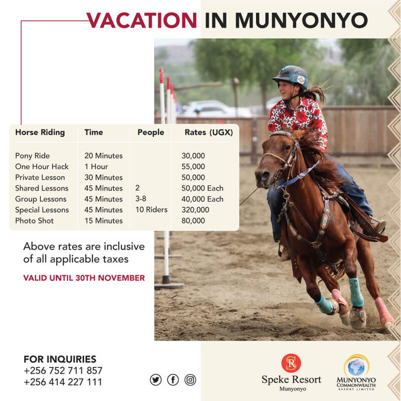 Speke Resort Munyonyo -Vacation in Munyonyo -Vacation Horse riddingoffers 2020