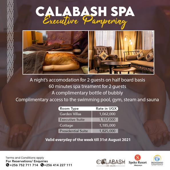 Calabash Spa and Salon Munyonyo Executive Pampering Accomodation Offer