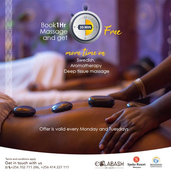 Calabash Spa and Salon Munyonyo swedish, aromatherapy, deep tissue massage Offer