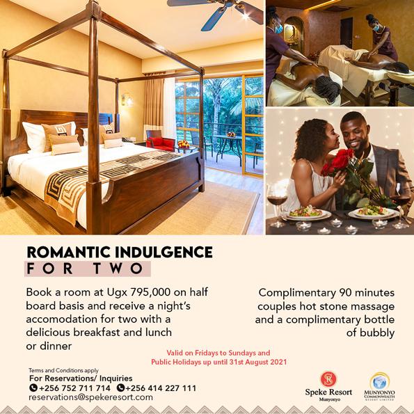 Speke Resort Munyonyo Accomodation Romantic Indulence for two offer