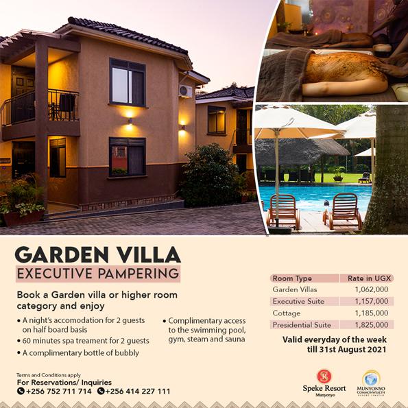 Speke Resort Munyonyo Garden Villa Pampering offers